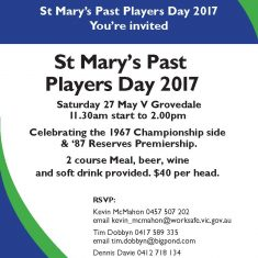 St. Mary's 2017 Past Players Luncheon Invite
