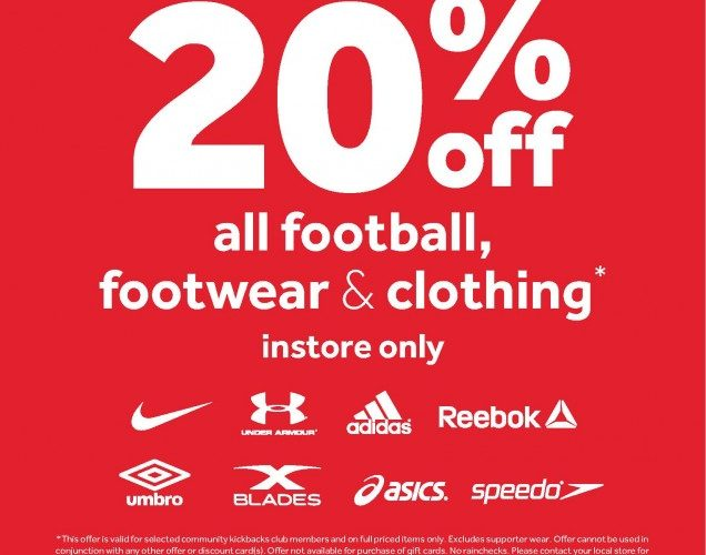 4bcb39fea3dc6e This weekend – 20% off Sportswear and Footwear at Rebel Sport Geelong for  Club Members